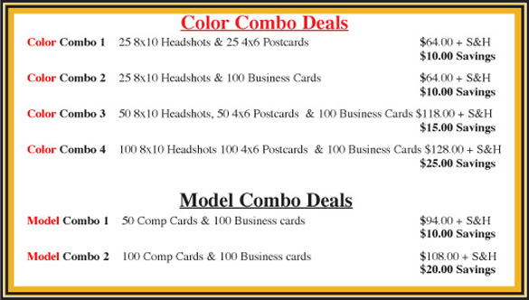 headshot printing duplications comp card and zed cards for models